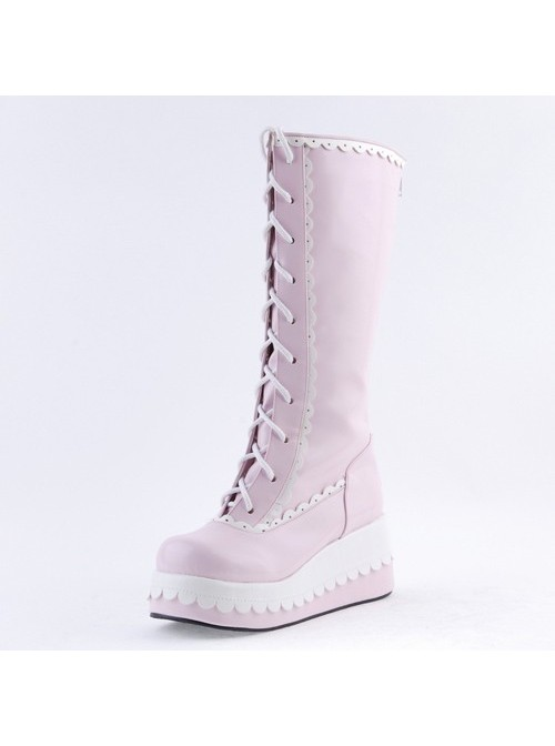 """Pink and White 2.8"""" Adorable PU Round Toe Sweet Girls Lolita Boots"""