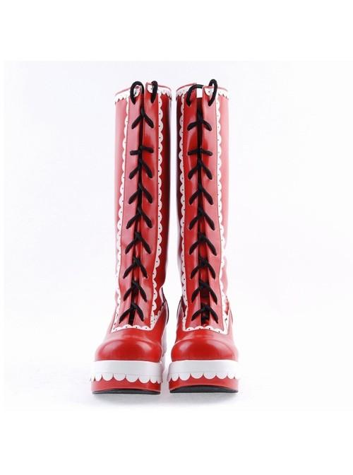 "Red and White 2.8"" Stylish PU Round Toe Sweet Girls Lolita Boots"