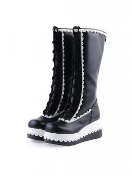 "Black 2.8"" Classic PU Round Toe Sweet Girls Lolita Boots"