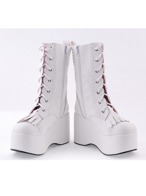 "White 3.5"" High Heel Cute Patent Leather Round Toe Mid-calf GirlsLolita Boots"