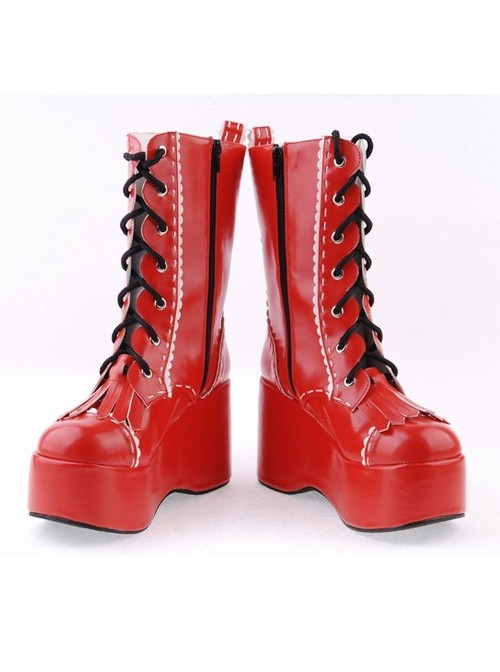 """Red 3.5"""" High Heel Beautiful Patent Leather Round Toe Mid-calf LadyLolita Boots"""