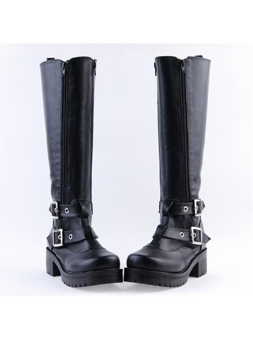 "Black 2.2"" High Heel Charming Patent Leather Cross Straps Punk Rock Women's Lolita Boots"