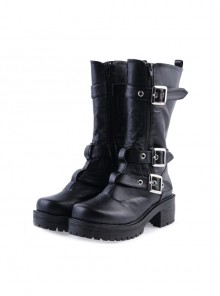 "Black 2.2"" High Heel Gorgeous Patent Leather Ankle Straps Punk Style Women's Lolita Boots"