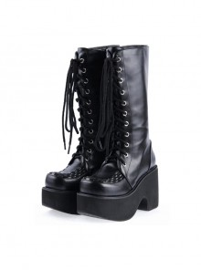 "Black 3.1"" Heel Synthetic Leather Punk Gothic Lolita High Heel Boots"