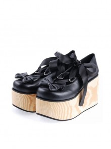 "Black 3.9"" High Heel Adorable Patent Leather Round Toe Bow Decoration Platform Girls Lolita Shoes"
