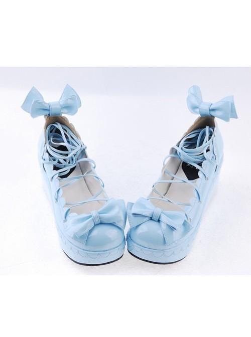 "Sky-blue 2.8"" High Heel Lovely Polyurethane Scalloped Bowknot Platform Girls Lolita Shoes"
