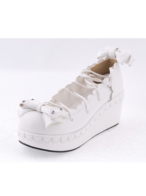 """White 2.8"""" High Heel Adorable Synthetic Leather Scalloped Bow Decoration Platform Girls Lolita Shoes"""
