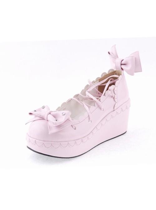 "Pink 2.8"" High Heel Cute PU Scalloped Bowknot Platform Girls Lolita Shoes"