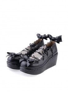 "Black 2.8"" High Heel Charming Patent Leather Scalloped Bow Platform Girls Lolita Shoes"