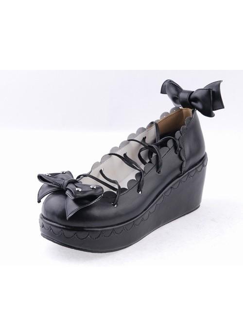 "Black 2.8"" High Heel Charming Patent Leather Scalloped Bow Platform Girls Lolita Shoes"