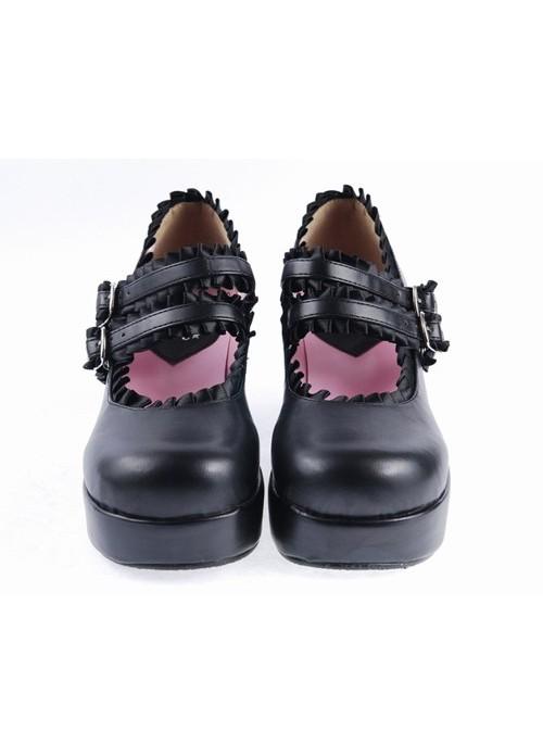 "Black 3"" High Heel Classical Polyurethane Scalloped Cross Straps Buckle Platform Girls Lolita Shoes"