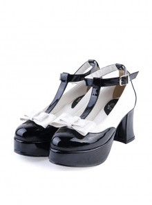 "Black & White 3"" High Heel Charming PU Ankle Straps Pointed Toe Bow Platform Girls Lolita Shoes"