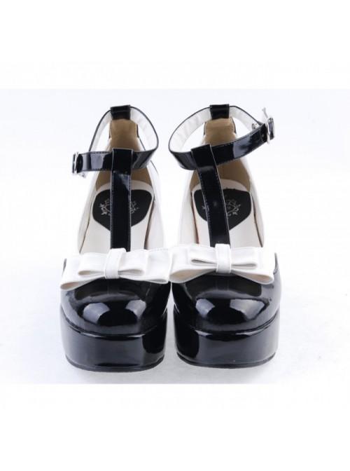 "Black & White 3"" High Heel Charming PU Ankle Straps Pointed Toe Bow Platform Girls Lolita Shoes"