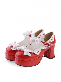 """Red & White 3"""" High Heel Sexy Patent Leather Round Toe Strap Bow Platform Girls Lolita Shoes"""