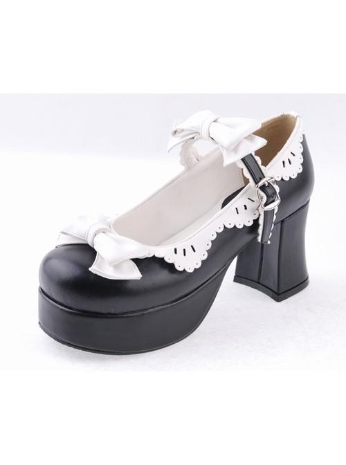 "Black & White 3"" High Heel Elegant Polyurethane Round Toe Strap Bow Decoration Platform Girls Lolita Shoes"