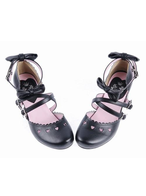 "Black 2.6"" High Heel Glamorous PU Round Toe Criss Cross Straps Bow Platform Girls Lolita Shoes"