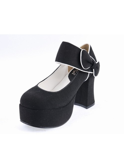 "Black 3.7"" High Heel Romantic Flannel Round Toe Bandage Platform Girls Lolita Shoes"