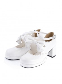 "White 2.6"" High Heel Lovely PU Round Toe Ankle Straps Bow Decoration Platform Girls Lolita Shoes"