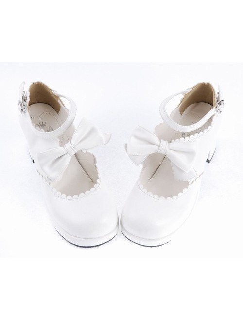 """White 2.6"""" High Heel Lovely PU Round Toe Ankle Straps Bow Decoration Platform Girls Lolita Shoes"""