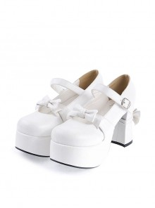 "White 3.7"" High Heel Adorable Patent Leather Round Toe Strap Bowknot Platform Girls Lolita Shoes"