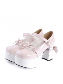 "Pink & White 3.7"" High Heel Adorable Synthetic Leather Round Toe Strap Bow Decoration Platform Girls Lolita Shoes"