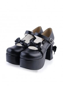 "Black 3.7"" High Heel Round Toe Strap Bow Platform Classic Lolita Shoes"