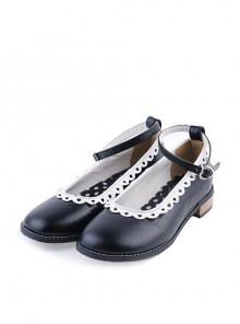 "Black 1"" High Heel Beautiful Polyurethane Round Toe Ankle Straps Polka Dot Pattern Insole Platform Girls Lolita Shoes"