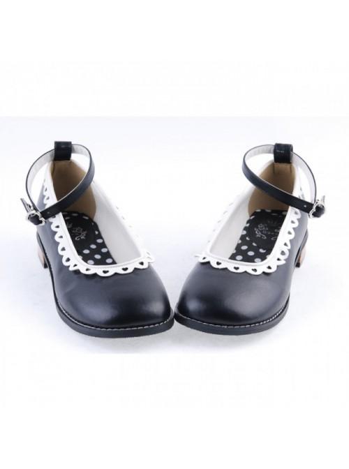 "Black 1"" High Heel Beautiful Polyurethane Round Toe Ankle Straps Polka Dot Pattern Insole Platform Girls Lolita Shoes"