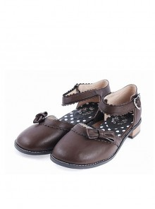 "Brown 1"" High Heel Stylish Synthetic Leather Round Toe Ankle Straps Bow Decoration Platform Girls Lolita Shoes"