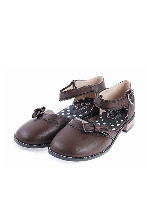 """Brown 1"""" High Heel Stylish Synthetic Leather Round Toe Ankle Straps Bow Decoration Platform Girls Lolita Shoes"""