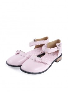 "Pink 1"" High Heel Special Patent Leather Round Toe Ankle Straps Polka Dot Pattern Insole Platform Girls Lolita Shoes"