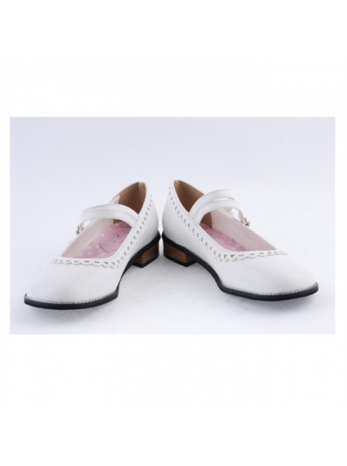 "White 1"" High Heel Charming Polyurethane Round Toe Double Straps Platform Girls Lolita Shoes"