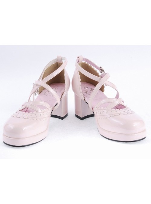 """Pink 2.6"""" High Heel Sexy Synthetic Leather Round Toe Criss Cross Straps Scalloped Platform Girls Lolita Shoes"""