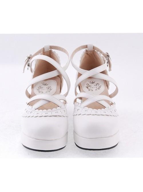 "White 2.6"" High Heel Elegant PU Round Toe Criss Cross Straps Scalloped Platform Girls Lolita Shoes"