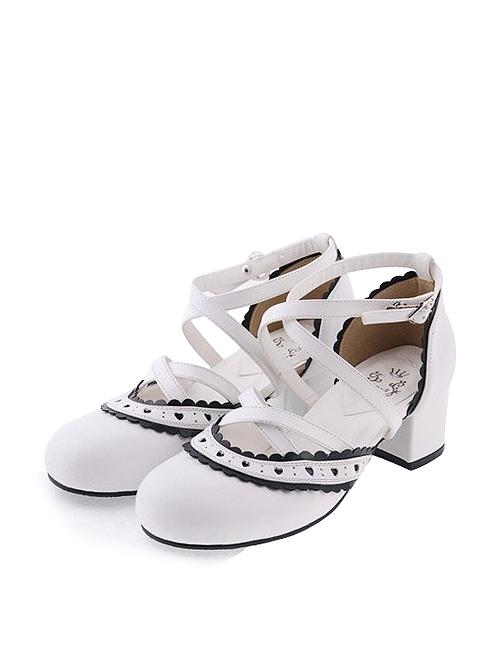 "White & Black 2.6"" High Heel Gorgeous Patent Leather Round Toe Criss Cross Straps Scalloped Platform Girls Lolita Shoes"
