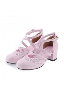 "Pink & White 2.6"" High Heel Glamorous Polyurethane Round Toe Criss Cross Straps Scalloped Platform Girls Lolita Shoes"