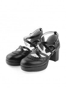 "Black 2.6"" High Heel Romantic Synthetic Leather Round Toe Criss Cross Straps Scalloped Platform Girls Lolita Shoes"