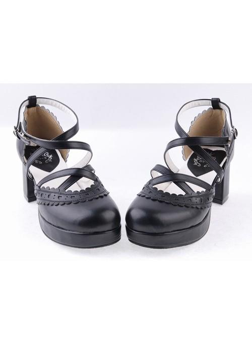 "Black 2.6"" High Heel Romantic Synthetic Leather Round Toe Criss Cross Straps Scalloped Platform Girls Lolita Shoes"