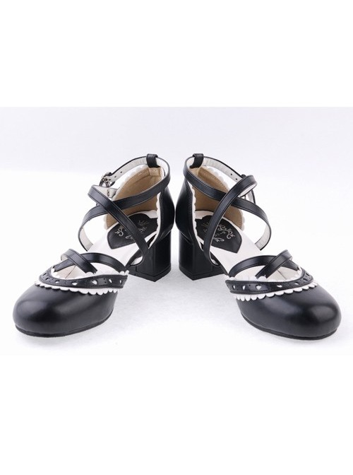 "Black & White 2.6"" High Heel Lovely PU Round Toe Criss Cross Straps Scalloped Platform Girls Lolita Shoes"