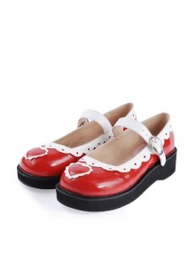 "White & Red 1.2"" High Heel Adorable Patent Leather Round Toe Strap Heart Decoration Platform Girls Lolita Shoes"