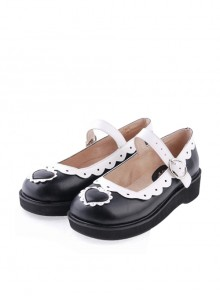 "Black & White1.2"" High Heel Lovely Polyurethane Round Toe Strap Heart Decoration Platform Girls Lolita Shoes"