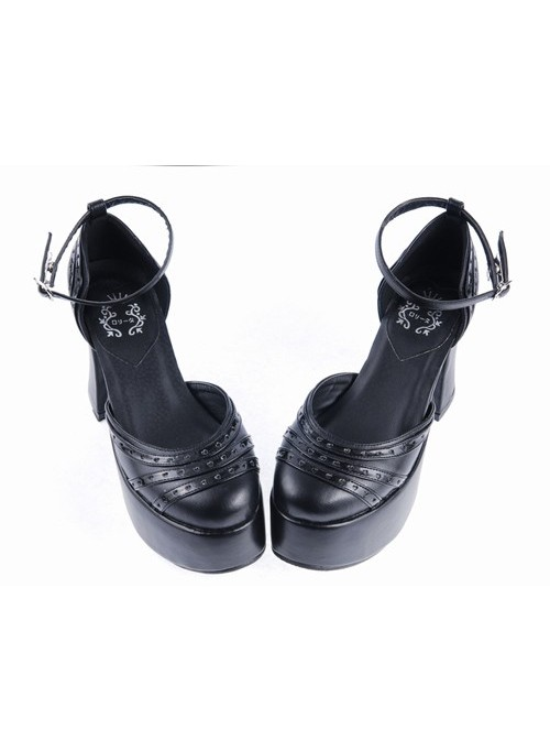 """Black 3.7"""" High Heel Adorable Synthetic Leather Pointed Toe Ankle Straps Platform Girls Lolita Shoes"""