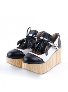"Black & White 3.1"" High Heel Cute PU Rocking HorsePlatform Girls Lolita Shoes"