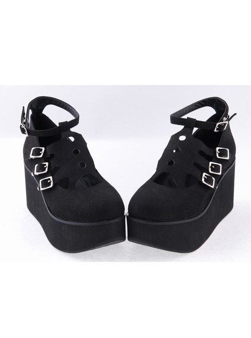 "Black 3.1"" High Heel Gorgeous Flannel Round Toe Japanese Punk Buckle Platform Girls Lolita Shoes"