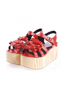 "Red 3.1"" High Heel Stylish PU Strap Bow Decoration Platform Girls Lolita Sandals"