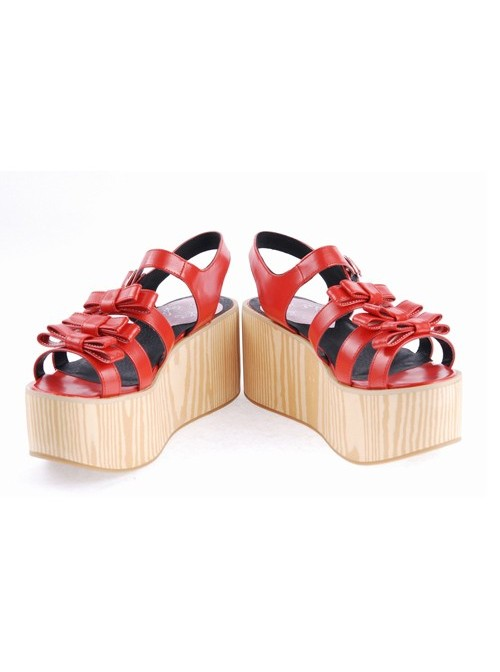 "Red 3.1"" High Heel Stylish PU Strap Bow Decoration Platform Girls Lolita Sandals"