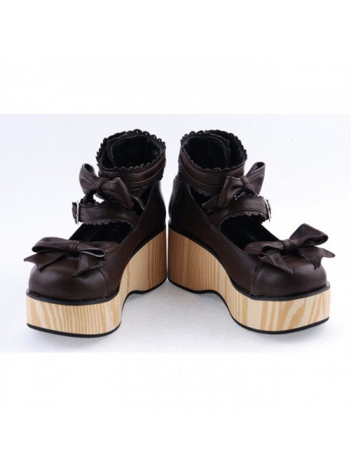 """Brown 2.8"""" High Heel Classical Patent Leather Bow Straps Platform Girls Lolita Shoes"""