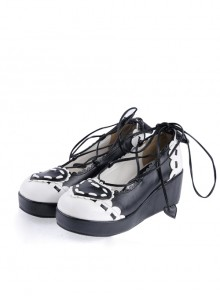 "Black & White 2.4"" High Heel Special Polyurethane Scalloped Lace Tie Platform Girls Lolita Shoes"