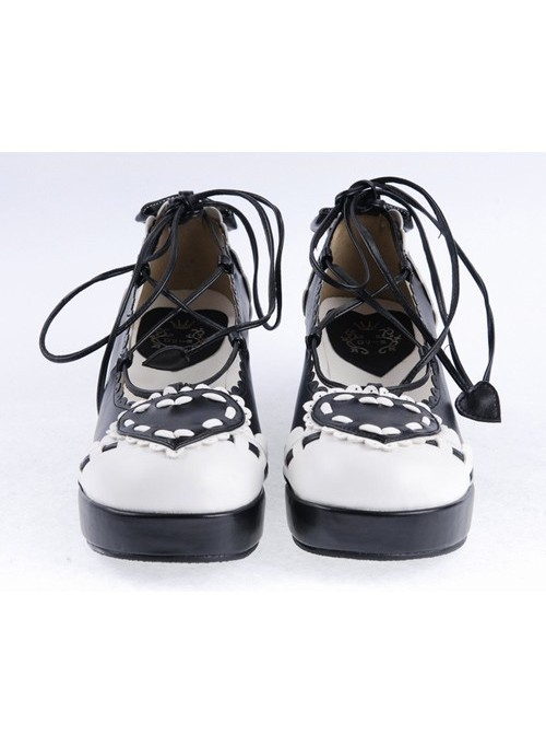 "Black & White 2.4"" High Heel Special Polyurethane Scalloped Lace Tie Platform Girls Lolita Shoes"