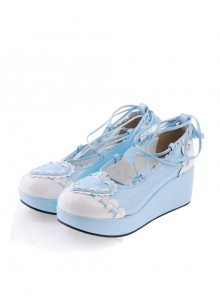 "Sky-blue 2.4"" High Heel Charming Synthetic Leather Scalloped Criss Cross Lace Tie Platform Girls Lolita Shoes"